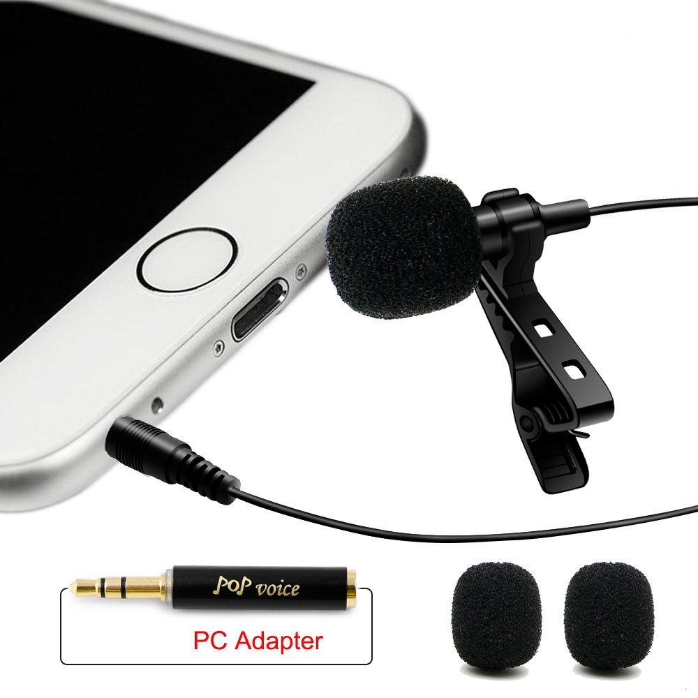 Professional #1 Best Lavalier Lapel Microphone Omnidirectional Condenser Mic for Apple IPhone Android & Windows Smartphones,Youtube,Interview,Studio,Video Recording,Noise Cancelling Mic by PoP voice