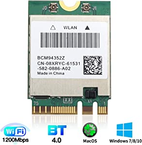 for macOS WiFi Card BCM94352Z M.2 NGFF 802.11a/b/g/n/ac 2.4G/5Ghz BT 4.0 1200Mbps WLAN Adapter for Windows 7/8/8.1/10 mac OS DW1560