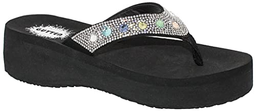 9e74f85be077 Gutten Ladies  Rainbow  Crystal Embellished Wedge Sandal