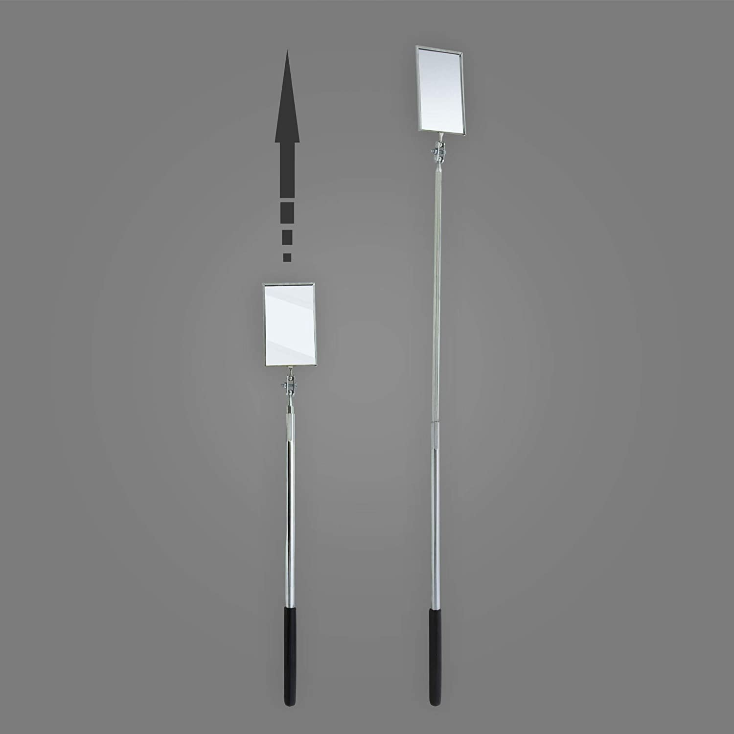 1-3//8 Diameter Round 6-1//2 to 35 Length Ullman Devices HTE-LT2 LED Lighted Telescoping Inspection Mirror