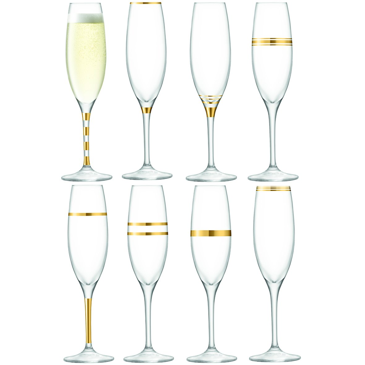 LSA International 7.5 fl. oz./9.5'' Gold Deco Champagne Flute (Set of 8), Assorted