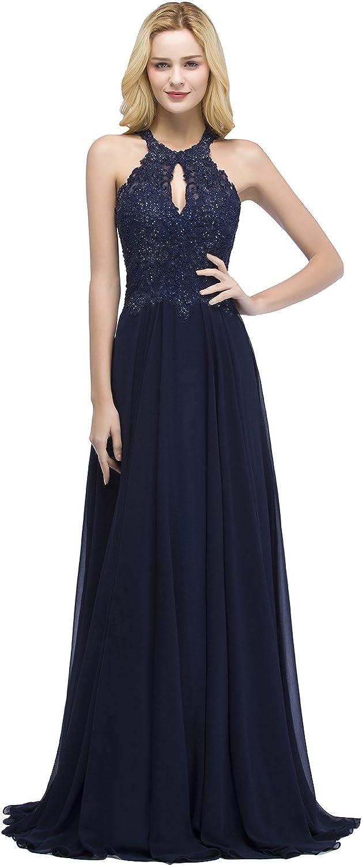 MisShow Damen Elegant Abiballkleid Abendkleid Tüll Plerlstickrei Ballkleid Abschlusskleid Bodenlang EU 32-46