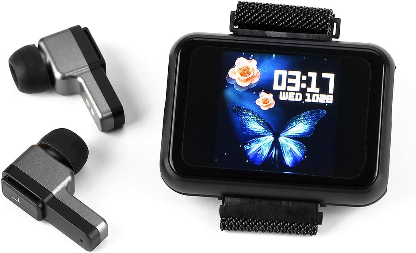 Reloj inteligente, 2 en 1 rastreador de actividad física con auriculares inalámbricos TWS, pulsera inteligente para el tiempo, frecuencia cardíaca, monitor de actividad física(negro)