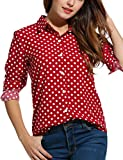 Zeagoo Women's Long Sleeve Casual Polka Dot Button Up Office Blouse Shirt Top,Red,Medium
