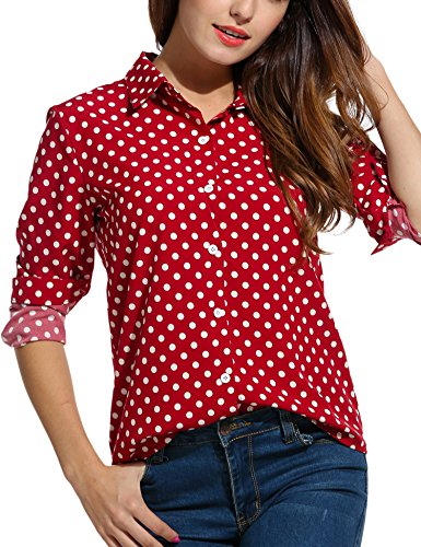 Zeagoo Women's Long Sleeve Casual Polka Dot Button Up Office Blouse Shirt Top,Red,Medium ()