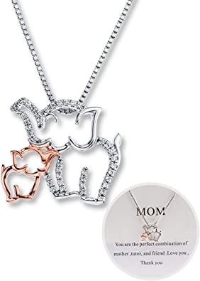 Women Silver Necklace Love Heart Mother And Daughter Pendant Dog Pet Charm Gifts