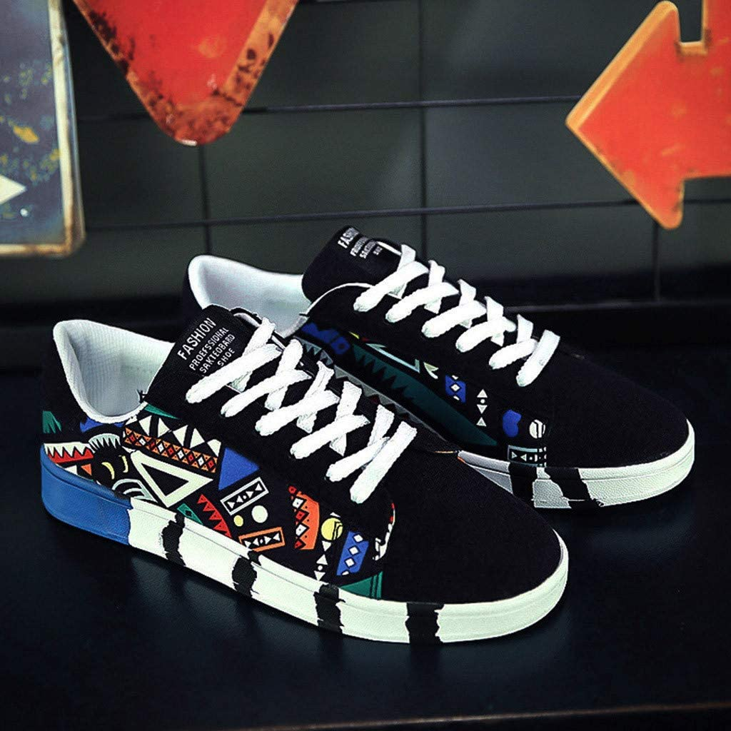 Sunhusing Mens Stylish Graffiti Printed Canvas Flat Shoes Casual Lace-Up Running Shoes Sneakers