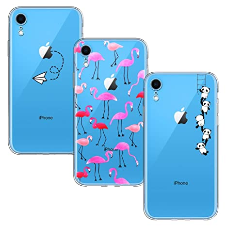 nuovo concetto 69b11 a1b4d Yoowei [3-Pack] Cover per iPhone XR Trasparente con Disegni, Morbida TPU  Silicone Ultra Sottile Protezione a 360 Gradi Custodia per iPhone XR