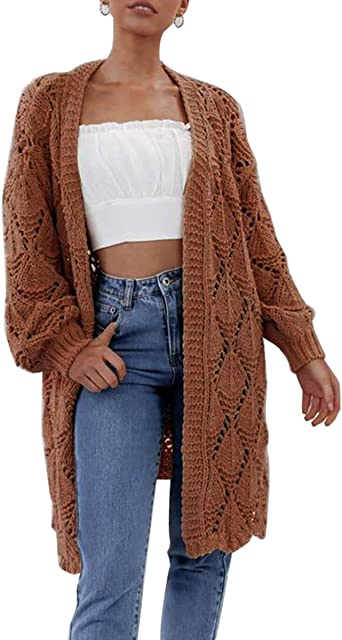 Women's Cardigan Open Front Solid Chunky Hollow Knit Long Sleeve Casual Loose Cardigan Sweaters Coat