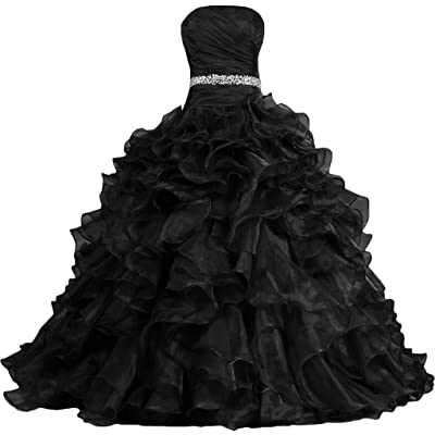 ANTS Women's Pretty Ball Gown Quinceanera Dress Ruffle Prom Dresses: Clothing