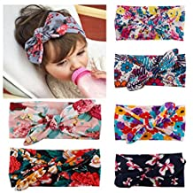 Little Mouse ® Assorted Colors Baby Girl's Elastic Hair Hoops Headbands/ Newest Turban Headband Head Wrap Knotted Hair Band (assorted of 6 colors set 66)