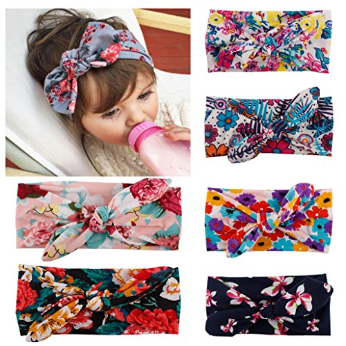 Quest Sweet® 6Pcs Baby Girls Toddler Bow Headbands Turban Knot Rabbit Hairband Headwrap Headwear