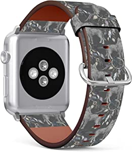(Wolf, Crow and Native American Indian Tribal Dreamcatcher) Patterned Leather Wristband Strap Compatible with Apple Watch Series 5/4/3/2/1 gen,Replacement for iWatch 42mm / 44mm Bands