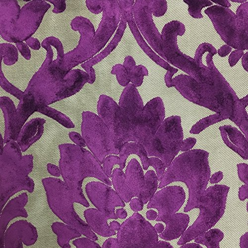 Radcliffe - Damask Pattern Lurex Burnout Velvet Upholstery Fabric by The Yard