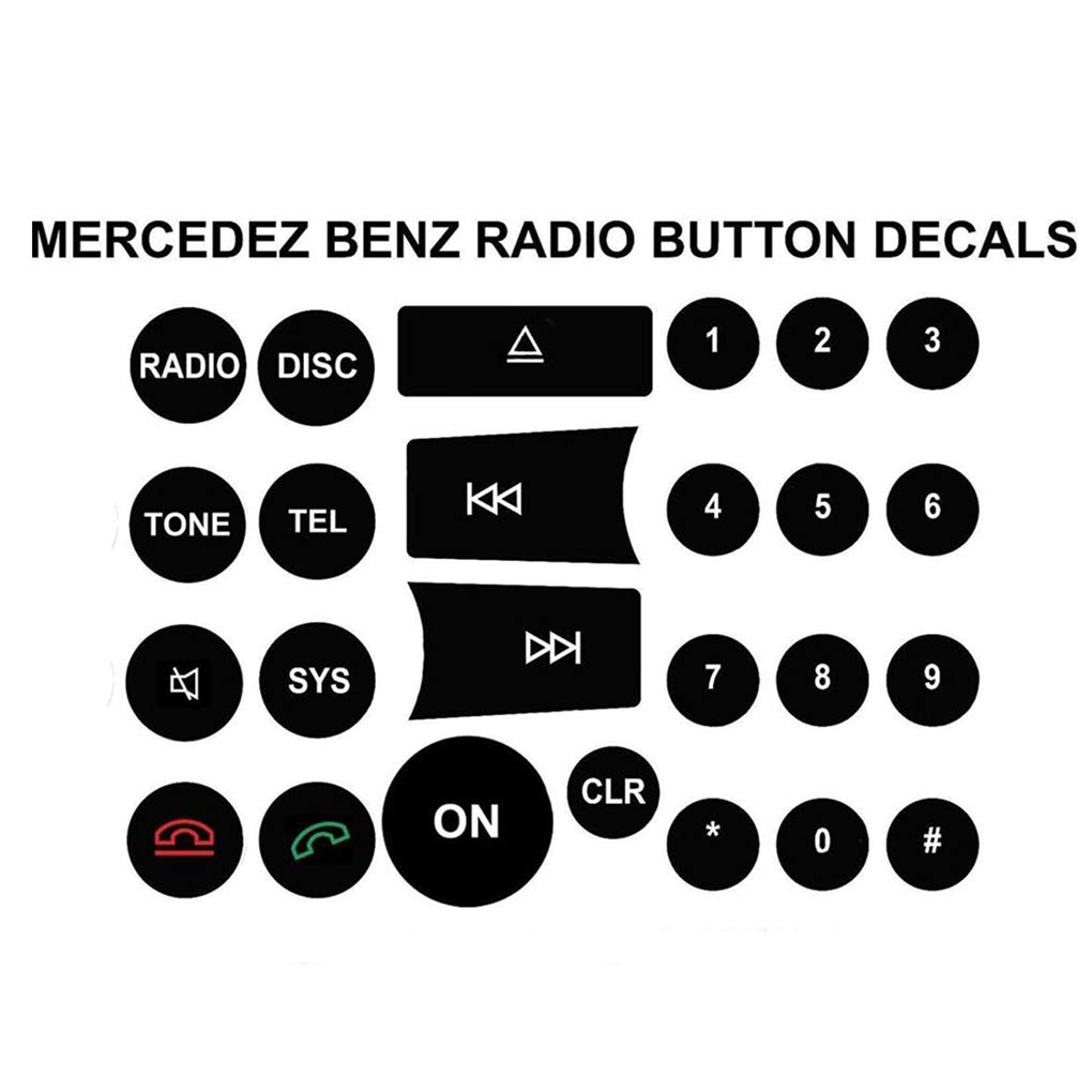 Lettori CD Radio Interruttore Pulsante Decalcomanie di Ricambio per Mercedes Benz C//E//GLK//W Classe 2008-2014