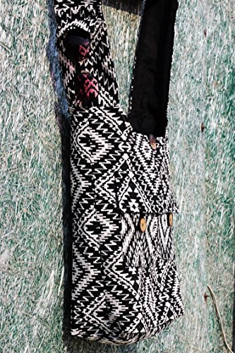 Black Sling TRIBESMANGOLD Print Cotton Boho Hobo Crossbody Shoulder Hippie Purse Bag Tribal rFdqndX