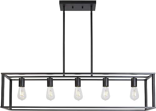 VINLUZ Farmhouse Chandeliers 5-Light Black Dining Room Lighting Linear Contemporary Metal Pendant Light Large Industrial Rustic Hanging Ceiling Light Fixture