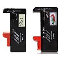 NUZAMAS Set of 2 Digital Battery Testers Voltage Checker and Power Level Checker Combo for AA AAA C D 9V 1.5V Button Coin Cell