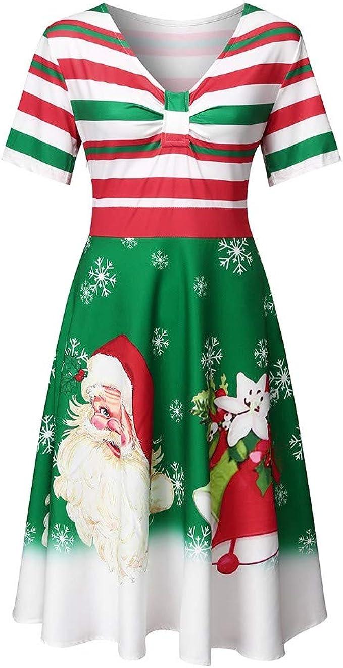 LILIHOT Damen Vintage Festliche Kleider Weihnachten Gestreifte A