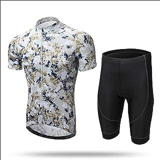 Grist CC Conjunto de Ropa de Ciclismo para Hombre, Camiseta de Ciclismo + Pantalones Acolchados 3D Pantalones Transpirable Secado rápido, Ciclismo al Aire Libre