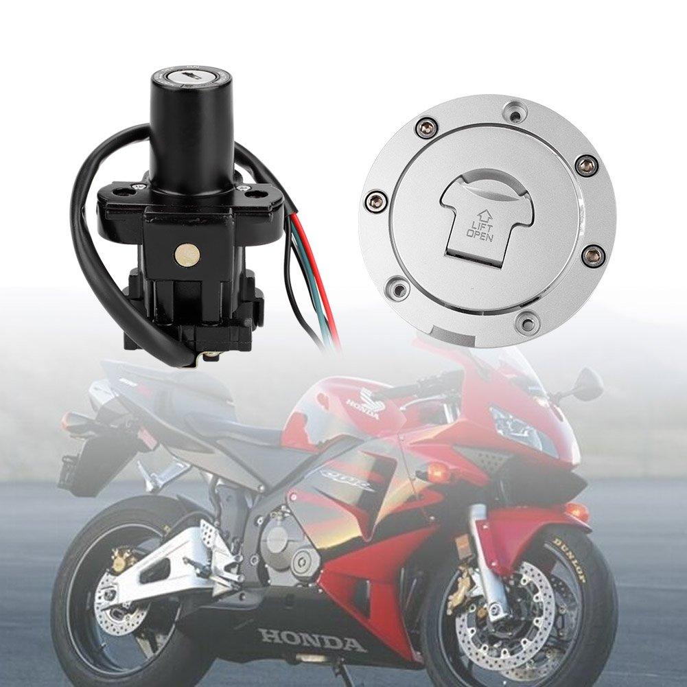 Qiilu Ignition Switch Fuel Gas Cap Seat Lock Key Set For Vfr 750 1995 Tank Diagram Honda Cbr600 F4 F4i 2001 2006 Automotive