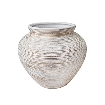 Amazon Round White Grey Textured Ceramic Vase 5x6x6 Home