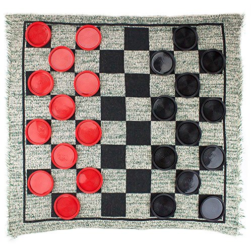 MIDWAY MONSTERS Giant 3-in-1 Checkers and Mega Tic Tac Toe with Reversible Rug – Indoor/Outdoor Jumbo Board Games for Family Fun & Parties - Extra Checkers