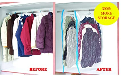 4b71b6a6b5f2 Image Unavailable. Image not available for. Color  4 PACK LARGE VACUUM SEAL  HANGING GARMENT BAGS ...