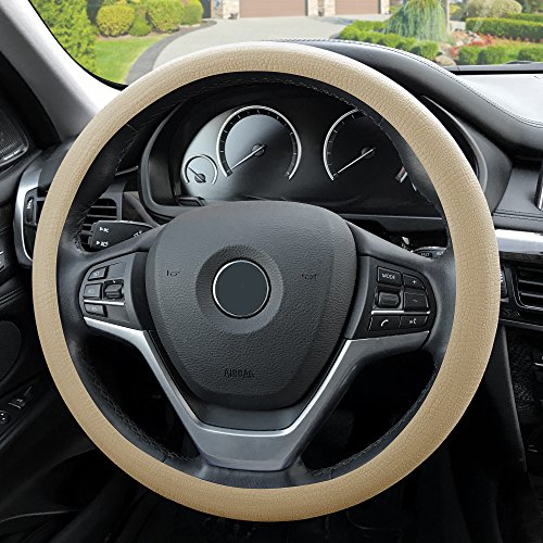 Beige Steering Wheel Cover (Silicone Snake Pattern Massaging grip in Color-Fit Most Car Truck Suv or Van) ()