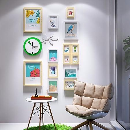 WUXK La escalera decoración mural foto versión vertical de creative reloj de pared la pared está decorada en un moderno y sencillo photo frame combinación fresca pequeña pared 2: Amazon.es: Hogar