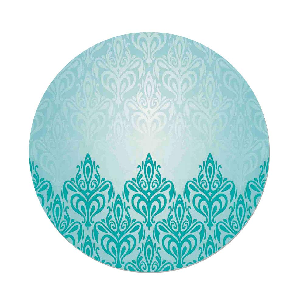 Polyester Round Tablecloth,Turquoise Decor,Decorative Retro Medieval European Victorian Gradient Royal Pale Patterns Artwork Print,Blue,Dining Room Kitchen Picnic Table Cloth Cover,for Outdoor Indoor