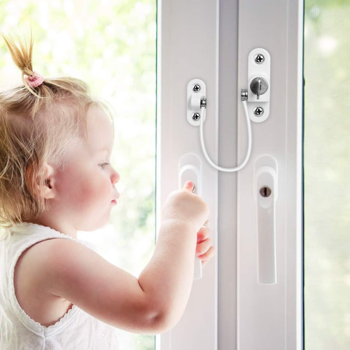 AIEVE 2 Stk Sicherheitsschloss Kabel und 4 Stk verstellbaren Kindersicherung Festerschloss /Öffnungsbegrenzer Kabelschloss Fangen Draht Begrenzer mit Schl/üssel und Schrauben f/ür Fenster T/ür