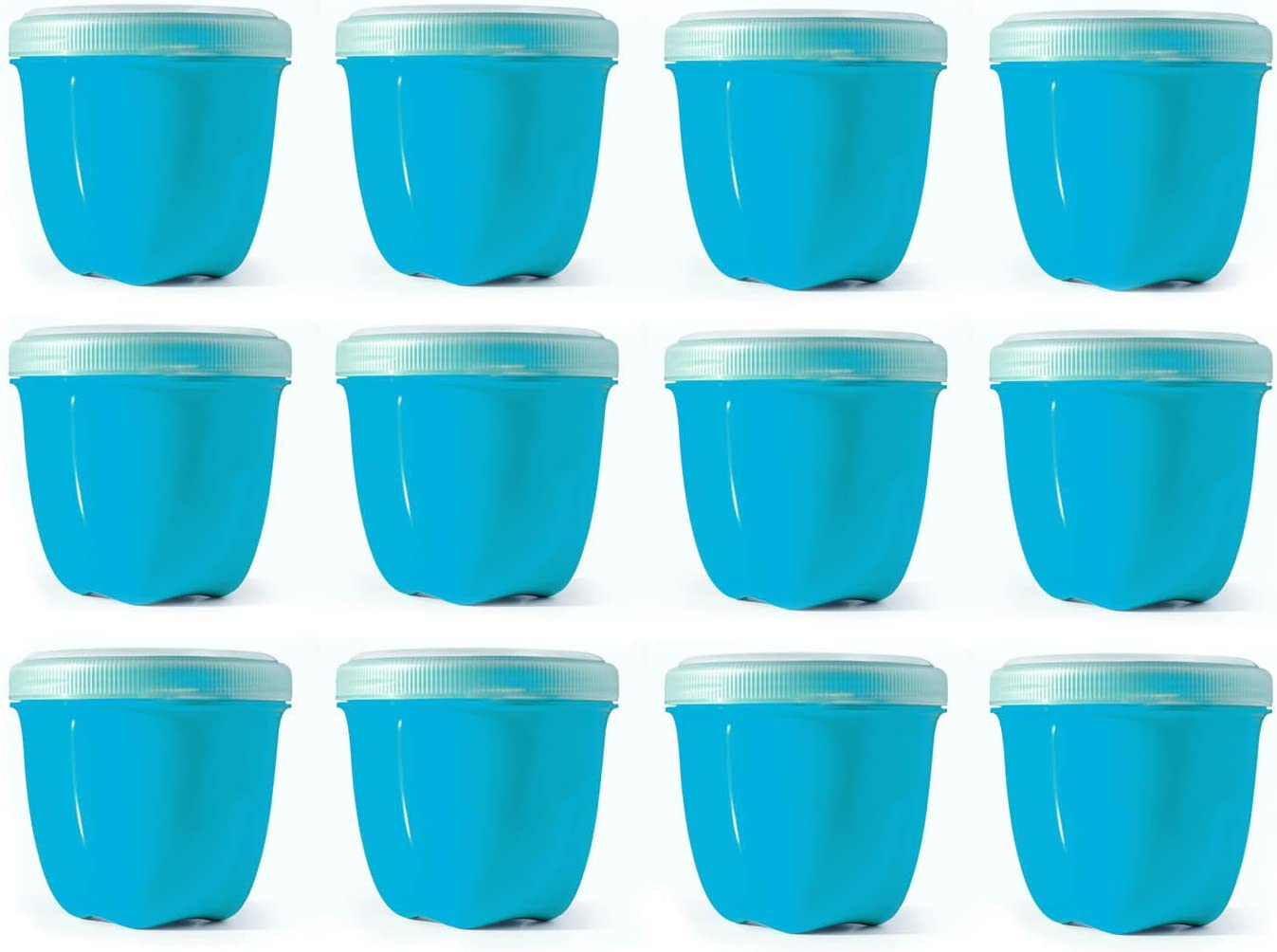 Preserve Reusable BPA Free 8 ounce Mini Food Storage Container with Screw Top Lid, Bulk Set of 12, Aqua Blue