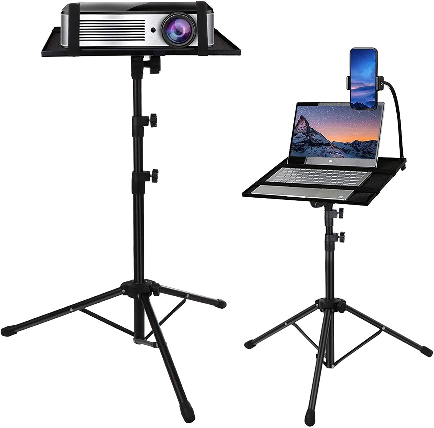Laptop Tripod, Laptop Stand Adjustable Height 17.7 to 42.7 Inch with Gooseneck Phone Holder, Portable Projector Stand Tripod, Detachable Computer DJ Equipment Holder Mount
