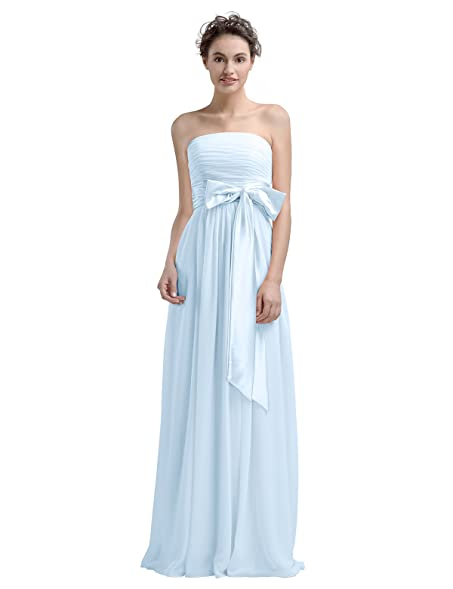 AWEI BRIDAL Bridesmaid Dress Long Evening Dresses Chiffon Designer Dresses, Baby Blue, US0