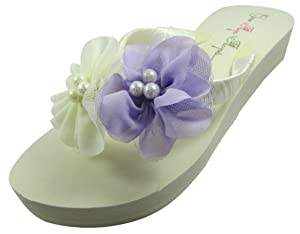 Ivory Wedge Flip Flops Wedding Bridal White Wedge Bride Platform Heel Pearl Flower Shoes Sandals Beach (9 M US, Ivory 1.25 inch heel)
