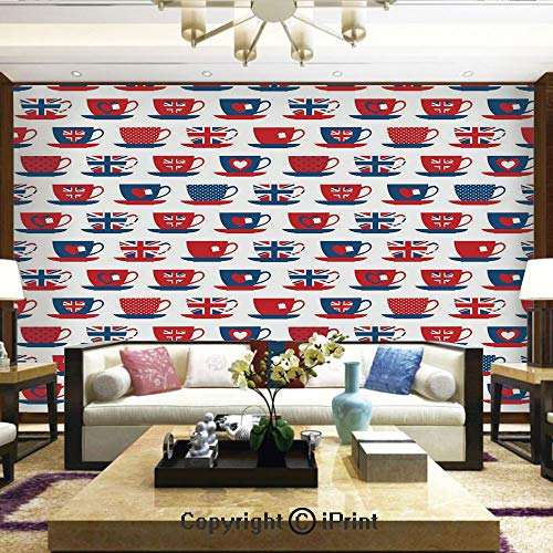 Wall Mural Showing All They Beauty Extremely Detailed Image, Great Britain Themed Teacup Forms Patterned Union Jack Hearts Flags Decorative,Home Decor - 100x144 inches