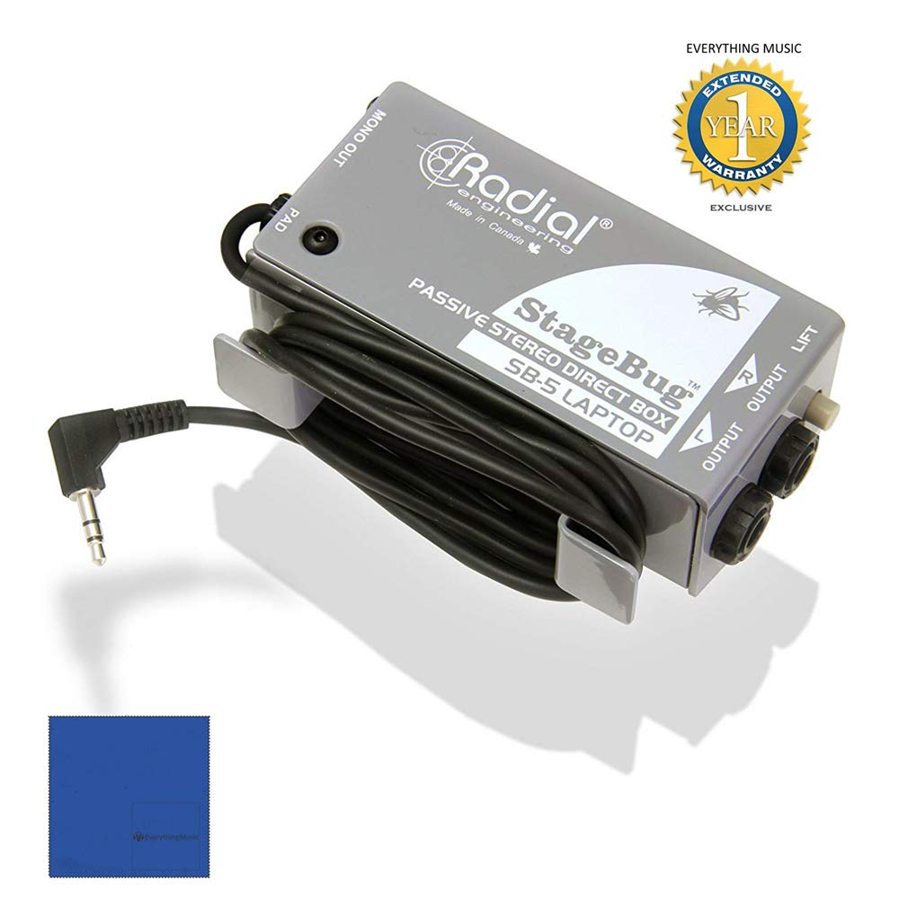 Radial StageBug SB-5 Single Channel Passive Laptop Stereo Direct Box Optimized with 1 Year Free Extended Warranty