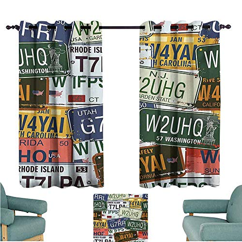 DONEECKL Novel Curtains Vintage Original Retro License Plates Personalized Creative Travel Collections Art Blackout Draperies for Bedroom Window W63 xL63 Green Blue Yellow