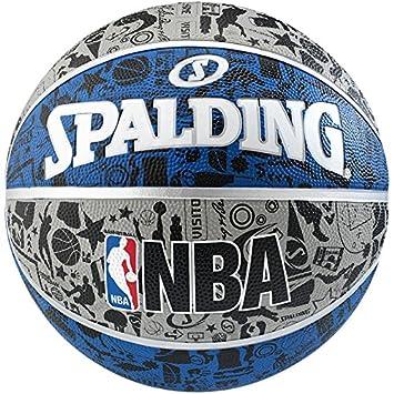 Balón de baloncesto de Spalding estilo NBA, con diseño de grafiti, para usar al aire libre.