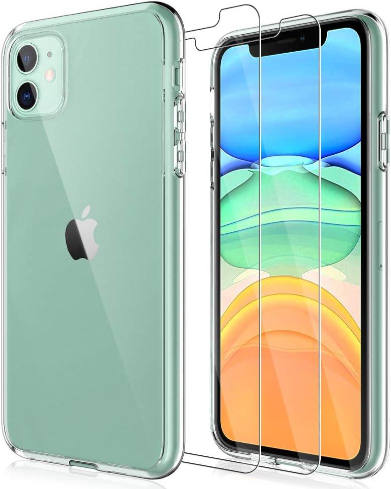 LK Coque pour iPhone 11 avec 2 protections d'écran en verre trempé, dos en acrylique et pare-chocs en TPU, absorption des chocs, protection...
