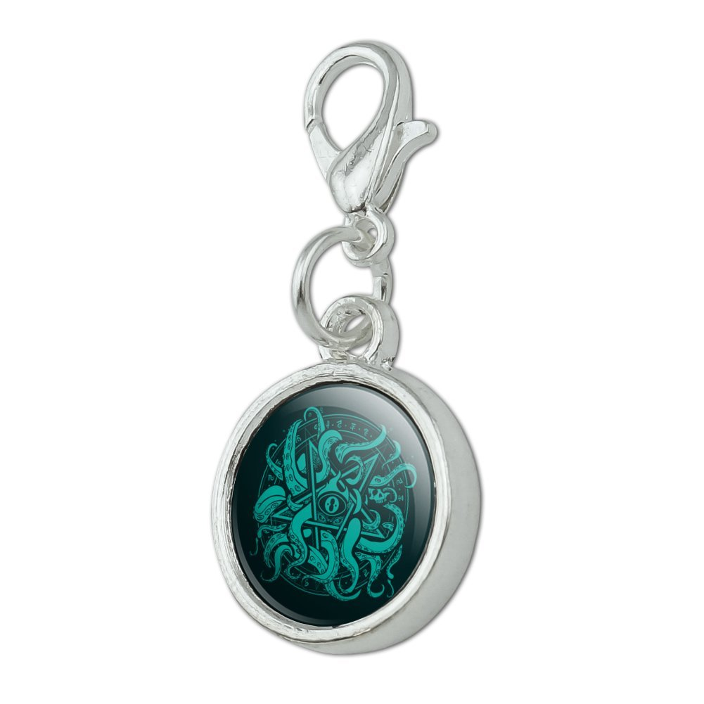 GRAPHICS /& MORE Cthulhu Elder Sign Pentagram Antiqued Bracelet Pendant Zipper Pull Charm Lobster Clasp