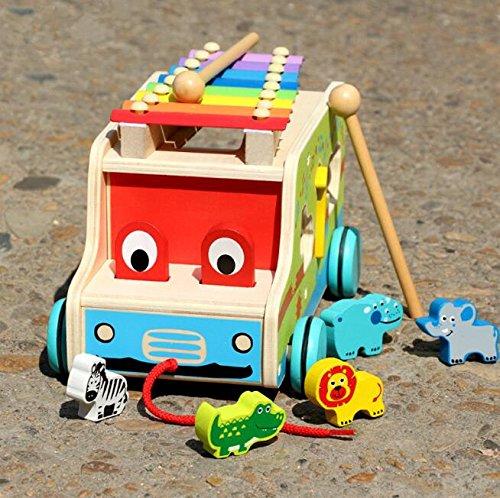 Strollway Tolles Puzzle-Spielzeug für Kinder Hölzernes Xylophon - Pull Toy Car Shape mit Buntem Tier für Das Baby, Das Musik lernt