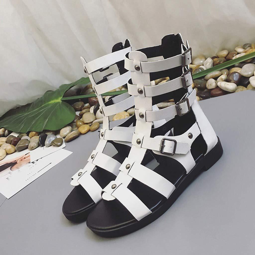 REYO Flat Sandal for Women Fashion Summer Metal Zipper Peep Toe Style Sandals Casual Party Shoes