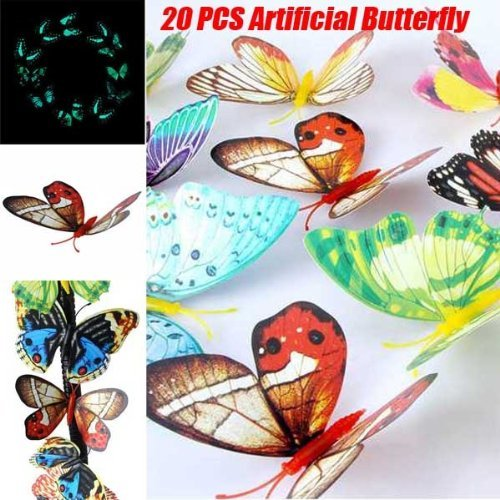 Review 20Pcs/Lot 3D Artificial Butterfly Luminous Fridge Magnet for Home Christmas By Eagle27 by Eagle27