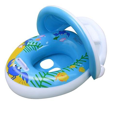 TOAOB flotador bebé flotador barco anillo de natación asiento inflable Floating juguete con parasol para bebés