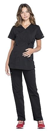 78f029059582b Cherokee Workwear Professionals Women's Maternity Mock Wrap Scrub Top WW685  & Maternity Straight Leg Scrub Pants