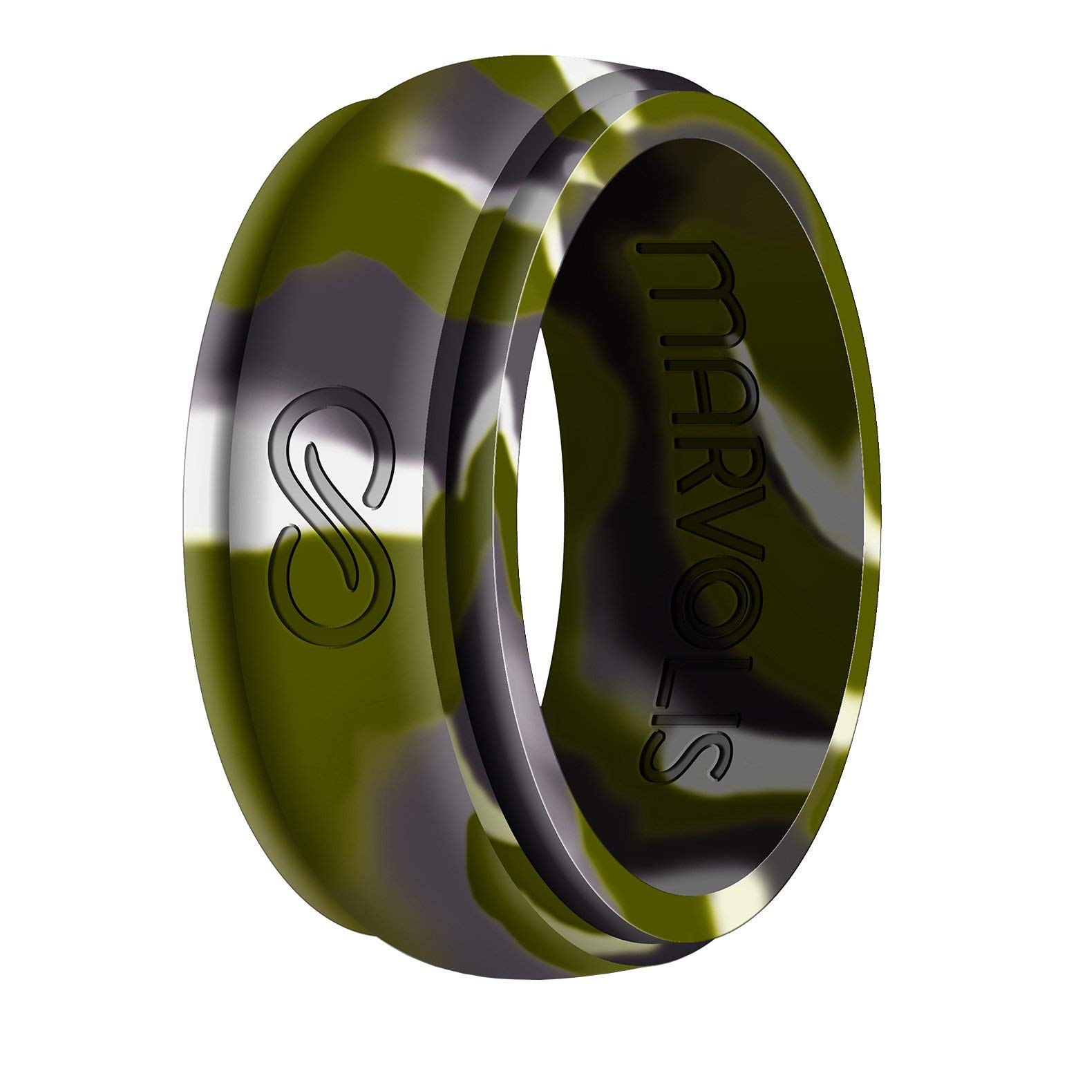Marvolis Premium Men Silicone Ring-Fashionable, Comfortable, Hypoallergenic Medical Grade Silicone Band for Active Men|100 Year Unconditional Manufacturer Warranty (13, Infinity Camo Green)