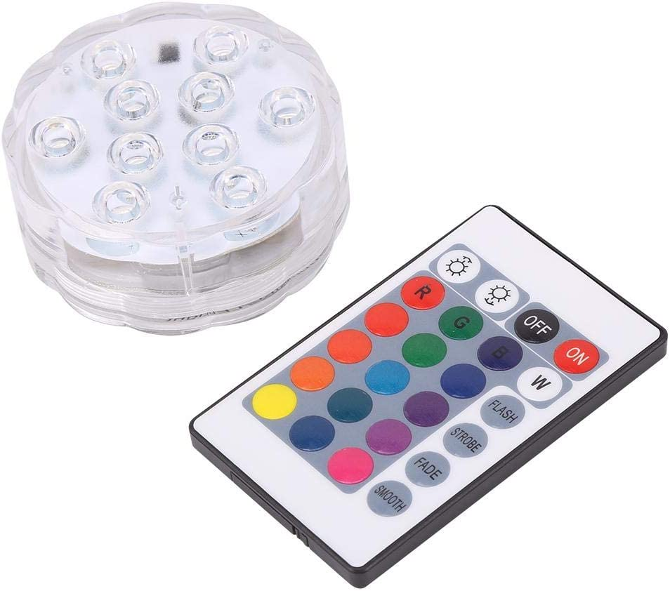 RGB Color Changing LED Lights Waterproof Remote Controlled for Pond Pool Fountain Aquarium Vase Hot Tub Bathtub Event Party 2 Pack Underwater Submersible LED Lights