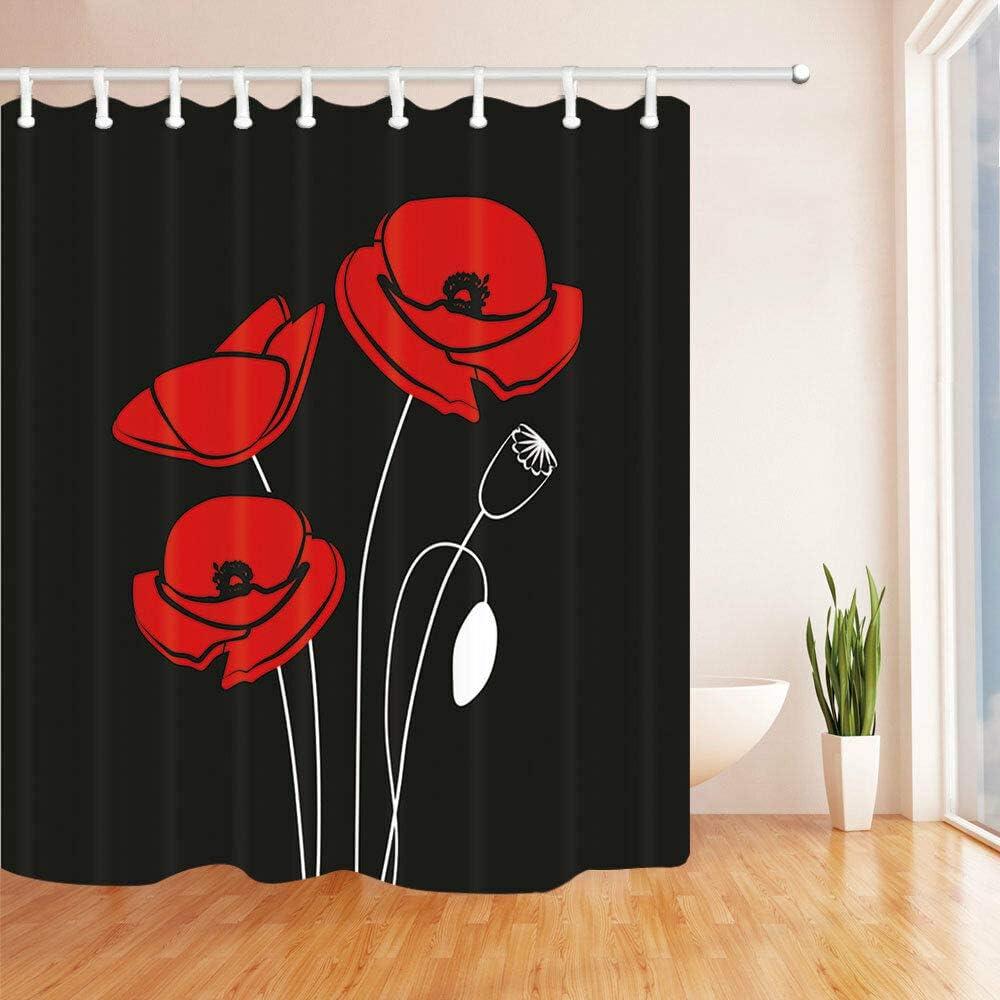 schimmelresistent Badezimmer-Zubeh/ör kreativ mit 12 Haken zhanghui2018 Duschvorhang mit roten Mohnblumen und schwarzem Hintergrund strapazierf/ähiger Stoff 180 x 180 cm